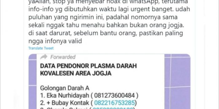 Respon salah satu pengguna akun Twitter di Yogyakarta yang namanya dicatut dalam donar plasma darah konvalesen di Yogyakarta. (Foto: Istimewa)