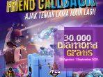 Hanya Undang Teman Untuk Main FF lagi, Dapatkan 30.000 Diamond Gratis di Event Callback FF Agustus 2021